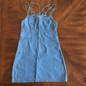 Mini denim  dress with zipper on sides
